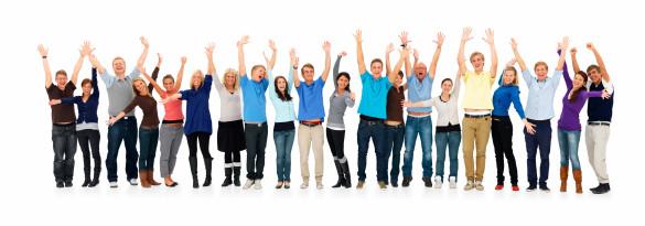 Groep blije tevreden klanten